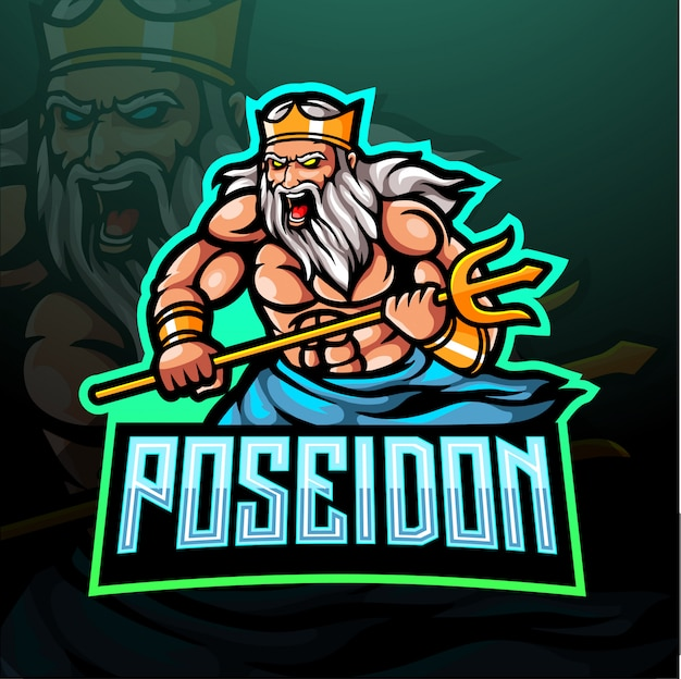 Poseidon esport logotipo mascote design