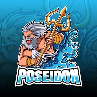 Poseidon irritado com ilustração do tridente esport