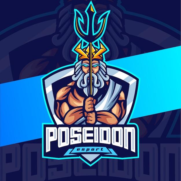 Poseidon rei mascote esport design de logotipo