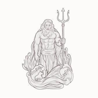 Poseidon, segurando, tridente, lança