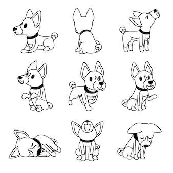 Poses de cão basenji de personagem de desenho animado