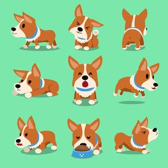 Poses de cão de corgi de personagem de desenho animado