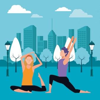 Poses de ioga de casal