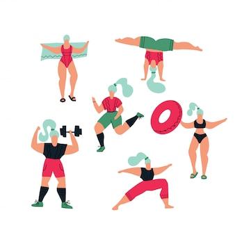 Poses de ioga, exercícios para um estilo de vida saudável, nadar na piscina.