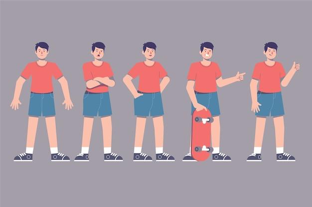 Poses de personagem com skatista