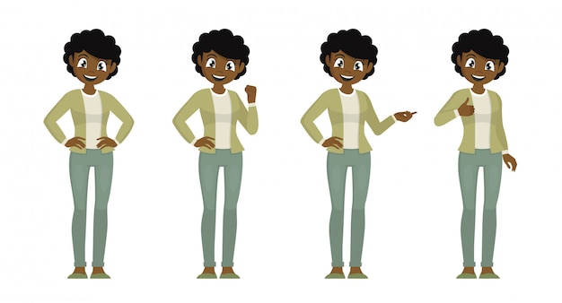 Poses de personagem de desenho animado, conjunto de mulheres africanas em pano casual com expressão diferente.