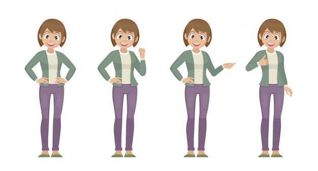 Poses de personagem de desenho animado, conjunto de mulheres em pano casual com expressão diferente.