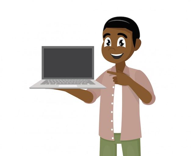 Poses de personagem de desenho animado, feliz homem africano segurando ou mostrando a tela em branco de um computador portátil e apontando o dedo da mão.
