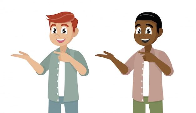 Poses de personagem de desenho animado, homem apontando as mãos juntas e mostrando ou apresentando algo