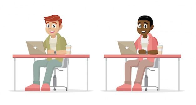 Poses de personagem de desenho animado, homem de negócios na área de trabalho com um laptop.