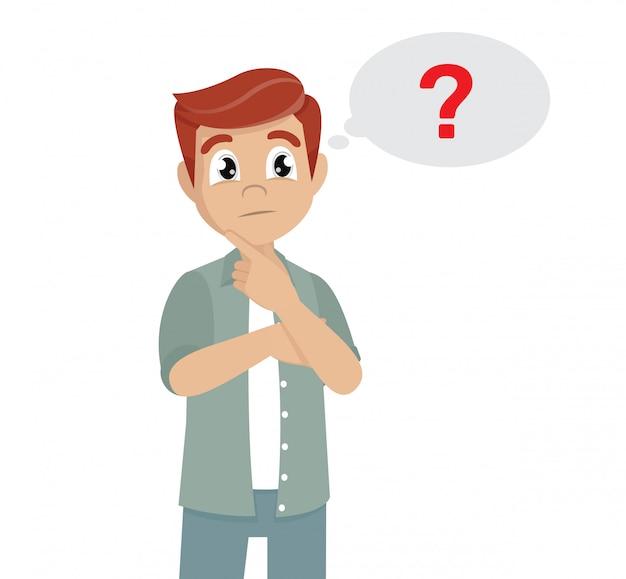 Poses de personagem de desenho animado, homem pensando. ícone de ponto de interrogação no balão de pensamento