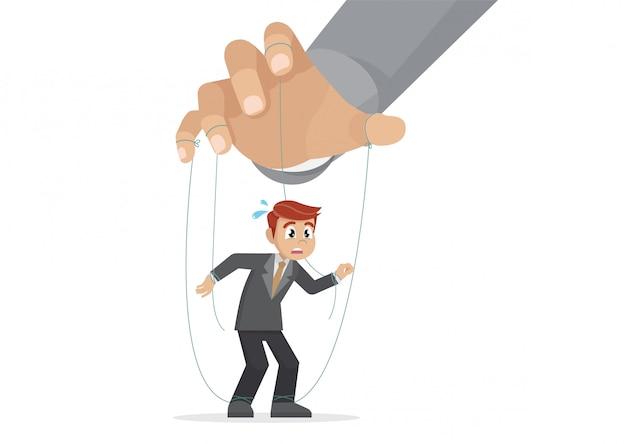 Poses de personagem de desenho animado, marionete de empresário sendo controlado com corda por marionetista.