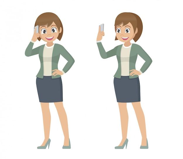 Poses de personagem de desenho animado, mulher de negócios, falando no celular.