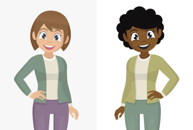 Poses de personagem de desenho animado, sorrindo mulher jovem e bonita no vestido casual, posando com a mão no quadril. mulher olhando confiante.