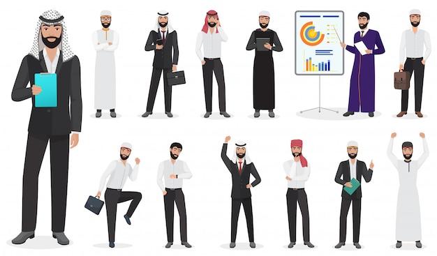 Poses de personagem de homem de negócios árabes