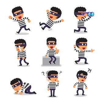 Poses de personagem de ladrão dos desenhos animados