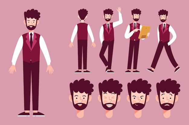 Poses de personagem ilustrado conceito