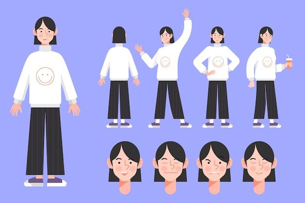 Poses de personagem ilustrado design