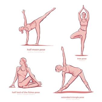 Poses diferentes de fitness alongamento de ioga