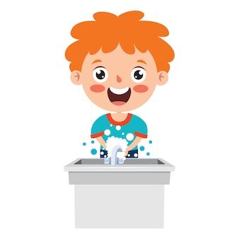 Poses e expressões de um menino engraçado Vetor Premium