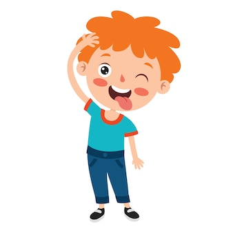 Poses e expressões de um menino engraçado