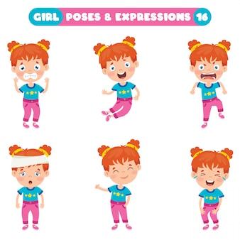 Poses e expressões de uma garota engraçada