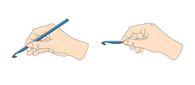 Posição correta da agulha de crochê na ilustração vetorial de tricô de mão