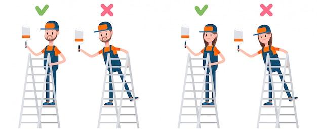 Posição correta e incorreta da segurança da escada. a parede da pintura do homem e da mulher na escada pisa personagens de banda desenhada isolados em um fundo branco.