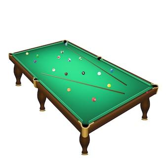 Posição de bolas de jogo de bilhar em uma mesa de bilhar realista com tacos.