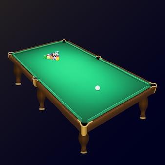 Posição de bolas de jogo de bilhar em uma mesa de bilhar realista.