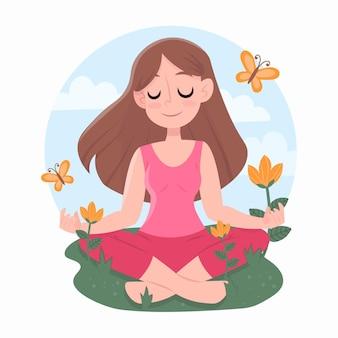 Posição de ioga e caráter de mulher de mente clara