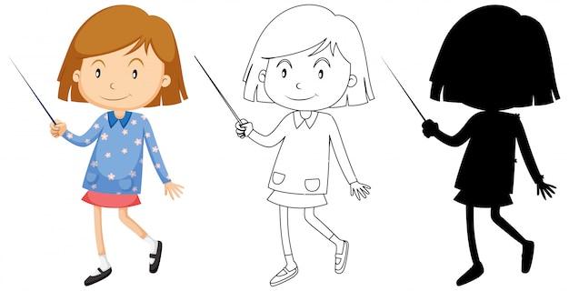 Posição de menina feliz em pé com seu contorno e silhueta
