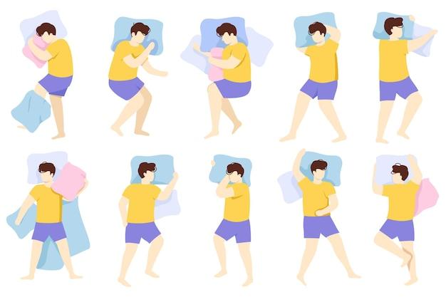Posição do homem dormindo. personagem do sexo masculino adulto pose de sono saudável à noite, pessoa dormindo na cama