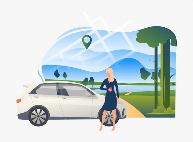 Posição mulher, carro, com, paisagem, em, fundo