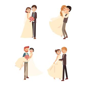 Posições diferentes de casais de casamento