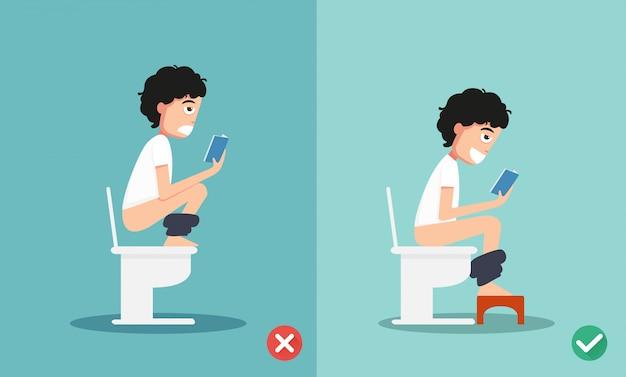 Posições saudáveis versus saudáveis para defecar