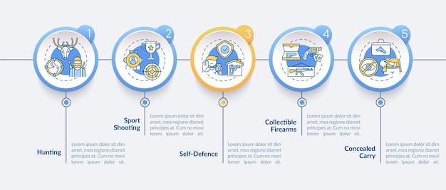 Posse de armas para modelo de infográfico civil. arma de fogo para caçar elementos de design de apresentação. visualização de dados em 5 etapas. gráfico de linha do tempo do processo. layout de fluxo de trabalho com ícones lineares