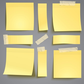 Post amarelo, note com fita adesiva
