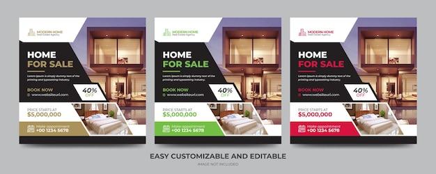 Post banner de mídia social para agência imobiliária moderna Vetor Premium