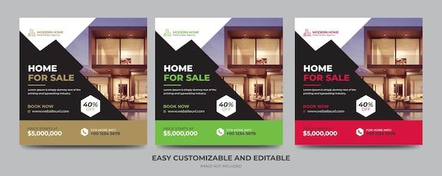 Post banner de mídia social para agência imobiliária moderna