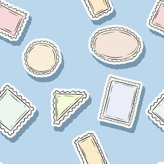 Post carimbo adesivos sem costura padrão. fundo colorido rótulo