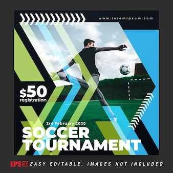 Post de banner de mídia social para torneio de bola de futebol nas cores preta e verde combinada