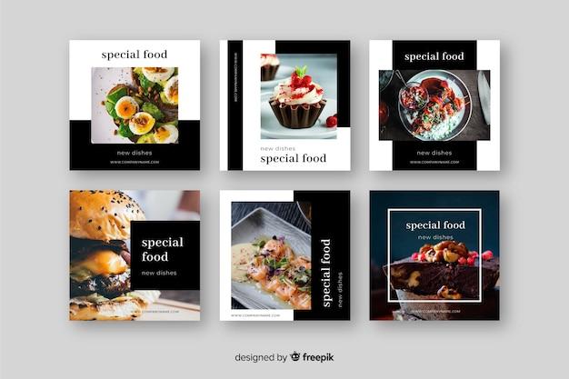 Post de culinária instagram definido com imagem