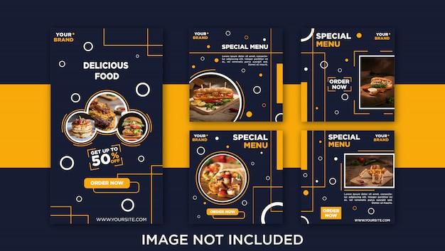 Post de feed de mídia social de comida deliciosa, modelo de banner