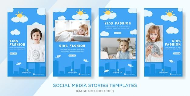 Post de histórias de banner de venda de roupas de crianças fashon.