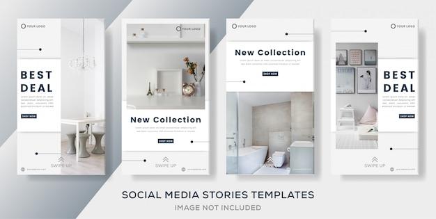 Post de histórias de banner definido para venda interior.