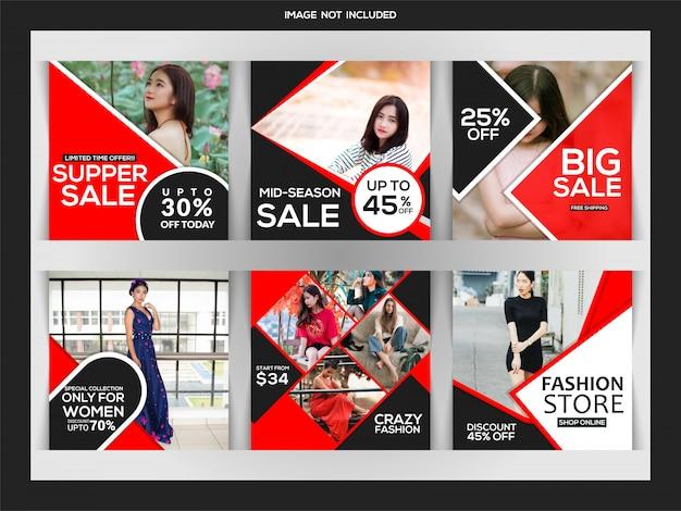 Post de instagram de vendas de moda ou modelo de banner quadrado