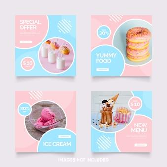 Post de mídia social azul e rosa bonito para oferta de comida