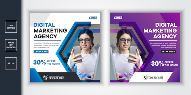 Post de mídia social da agência de marketing digital e banner da web