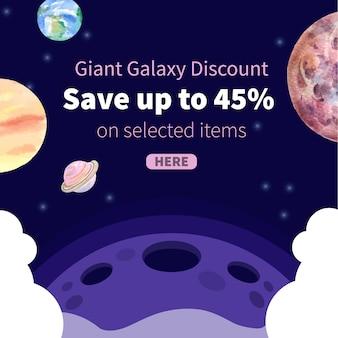 Post de mídia social da galáxia com ilustração em aquarela de planetas.